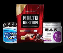 Combo Energia e Resistência (Glutamina 300g + Maltodextrina 1kg + 2 Hot 360g)