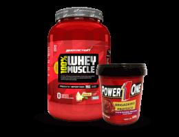 Combo (Whey Muscle 900g + Pasta de amendoim brigadeiro proteico 500g)