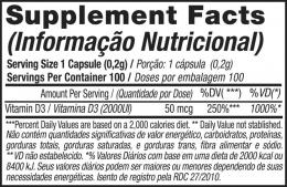 Vit D3 2000 IU - TABELA NUTRICIONAL